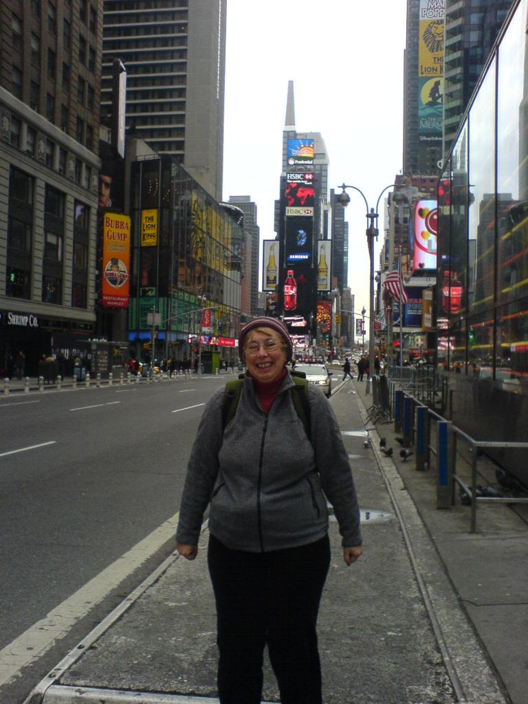 Mum in Times Square, New York City, USA.