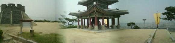 Seojangdae pagoda and Seonodae defensive tower, Suwon, Gyeonggi-do, South Korea
