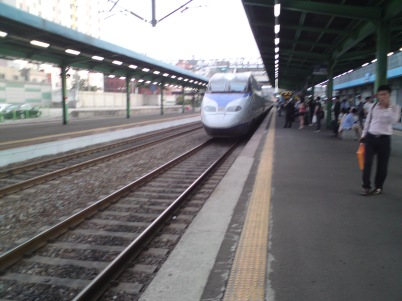 KTX coming in to Gupo station, Busan, South Korea.