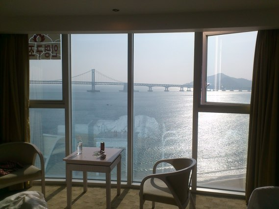View form our 11th floor room in the Aqua Palace, Gwangalli, Busan