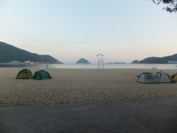 Camping on Sangju beach, Namhae Island