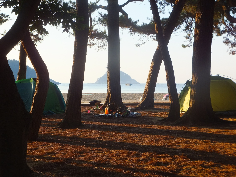Camping on Sangju Beach, Namhae, South Korea