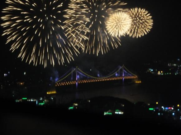Busan Firework Festival 2013, as viewed from Centum Guesthouse, Centum City, Busan, South Korea