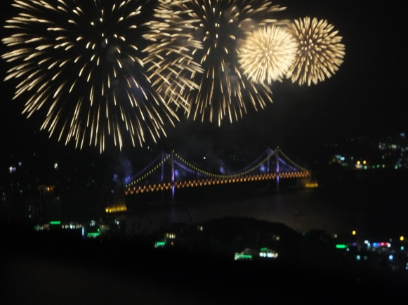 Busan Firework Festival 2013, as viewed from Centum Guesthouse, Centum City, Busan, South Korea