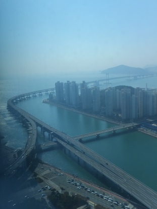 View from Centum Guesthouse, Centum City, Busan.