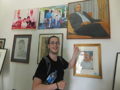 Jeff admires Xanana, the coolest man in the world, at Xanana's Reading Rooms, Dili, East Timor
