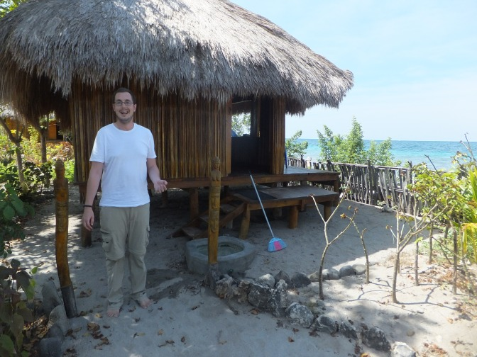Jeffski outside our hut at Barry's Place, Atauro Island, East Timor