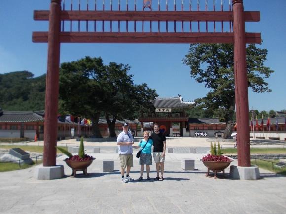 Ken, Helen and Jeff outside Hwaseong Haenggung (Suwon Palace), Suwon, Gyeonggi-do, South Korea