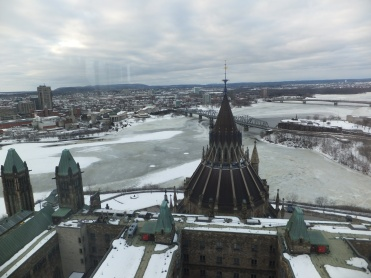 View of the Ottawa River from the Peace Tower, Ottawa, Ontario